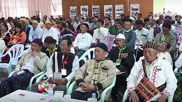 Ethnic Kachin politicians attend a meeting held by the Kachin State People's Party in Myitkyina, northern Myanmar's Kachin state, March 4, 2020.