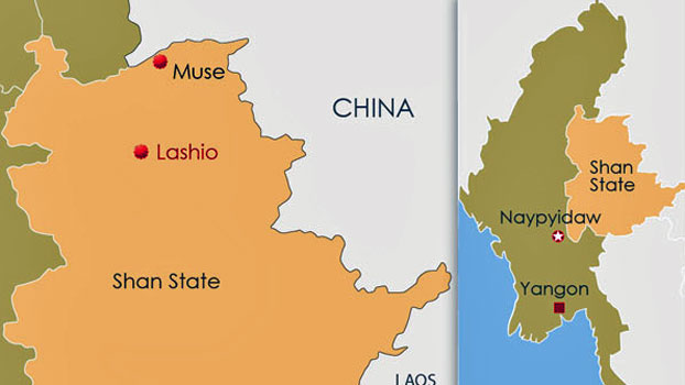 The map shows the town of Lashio in Myanmar's northern Shan state.
