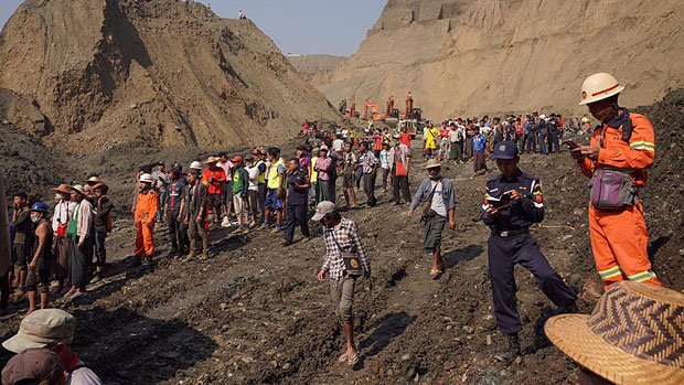 The aftermath of the April 22 landslide disaster in Myanmar's Hpakant is shown in a photo provided by a citizen journalist.