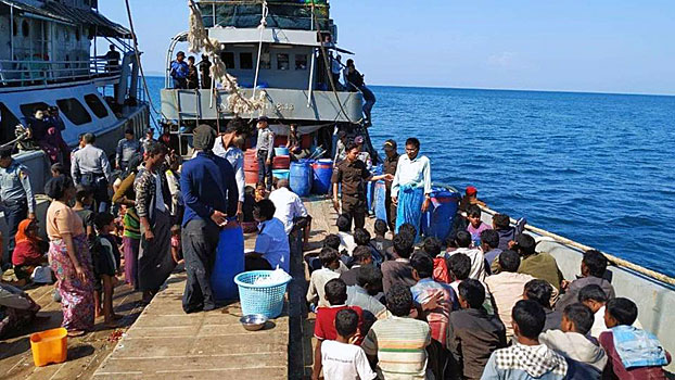 Myanmar authorities seize a boat carrying Rohingya Muslims from Rakhine state en route to Malaysia, off the coast of Dawei district