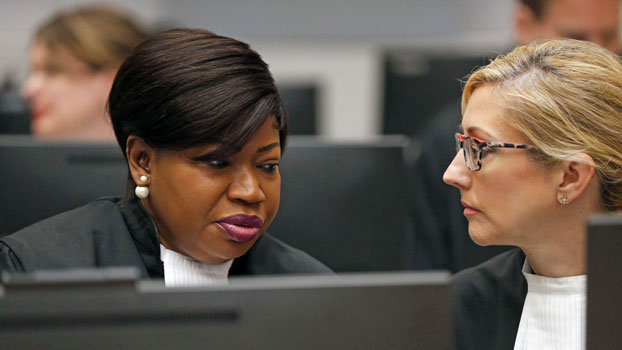 Fatou Bensouda (L), top prosecutor at the International Criminal Court, sits in one of the body's courtrooms at The Hague, the Netherlands, July 8, 2019.