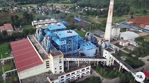An aerial view of the Tigyit coal-fired-power plant in Tigyit village, Pinlaung township, in Myanmar's northern Shan state, August 2019.