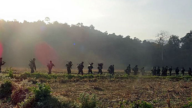 Arakan Army soldiers pass through a field in western Myanmar's Rakhine state in an undated photo.