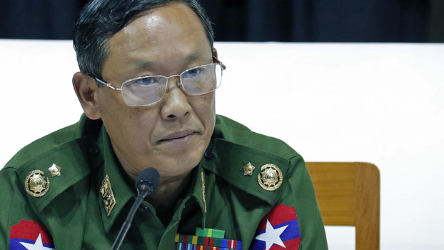 Myanmar military spokesman Major General Tun Tun Nyi speaks to reporters at a press conference in Myanmar's capital Naypyidaw, Aug. 23, 2019.