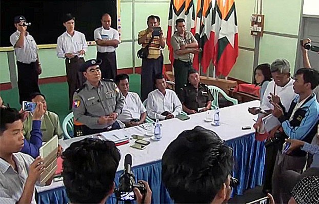 Myanmar police and Salingyi township officials hold a press conference on a clash between protesting villagers and police in the town of Letpadaung, northwestern Myanmar's Sagaing region, March 27, 2017.