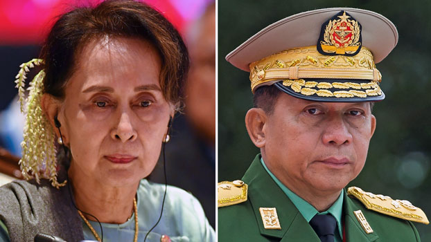 This combination of file photos shows Myanmar State Counselor Aung San Suu Kyi (L) at the 35th ASEAN Summit in Bangkok, Thailand, on Nov. 4, 2019, and Myanmar military chief Senior General Min Aung Hlaing at the 71th anniversary of Martyrs' Day in Yangon, Myanmar, on July 19, 2018.