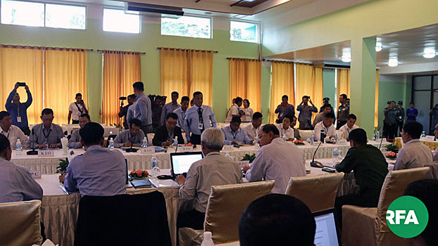 Myanmar peace negotiators hold talks with members of the Northern Alliance in Kengtung, Myanmar's eastern Shan state, Aug. 31, 2019.