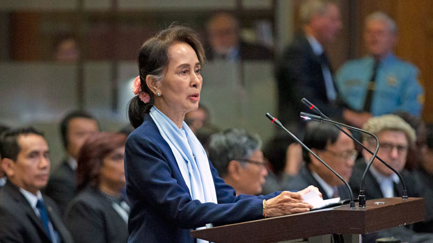 Myanmar's leader Aung San Suu Kyi addresses judges of the International Court of Justice on the second day of the three-day hearing in The Hague, the Netherlands, Dec. 11, 2019.