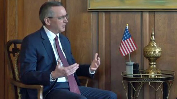 U.S. Ambassador to Myanmar Scot Marciel discusses accountability for those who have committed human rights abuses in the country at the U.S. Embassy in Yangon, Oct. 31, 2019.