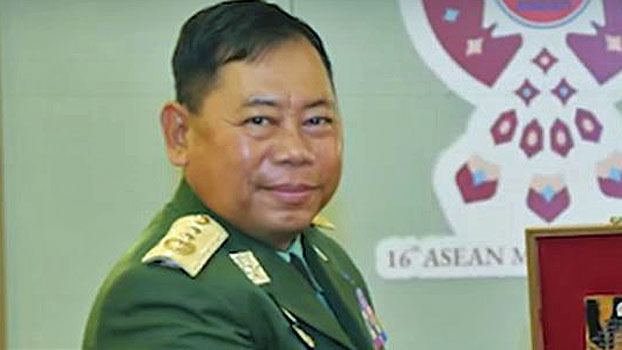 Lieutenant General Soe Htut, Myanmar's incoming home affairs minister, attends a meeting with the intelligence chief of the Royal Thai Armed Forces in Pattaya, Thailand, March 5, 2019.