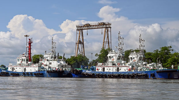 Vessels are docked at the port of a Chinese-owned oil refinery plant on Made Island off Kyaukphyu in western Myanmar's Rakhine state, Oct. 2, 2019.