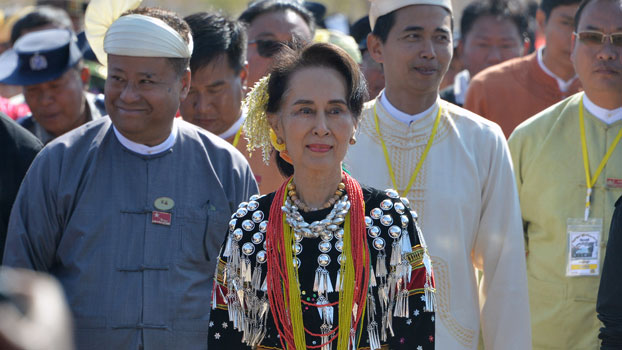 Myanmar State Counselor Aung San Suu Kyi (C) attends a ceremony marking the country's 73rd Union Day in Panglong, Myanmar's southern Shan state, Feb. 12, 2020.