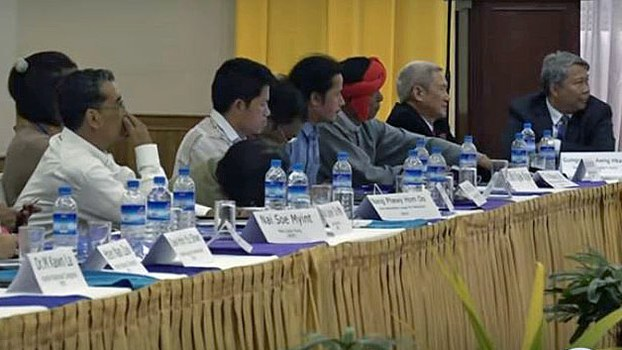 Representatives from Myanmar's ethnic political parties attend a workshop to discuss the country peace process and China's influence, in Yangon, Jan. 21, 2020.