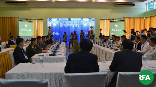 Myanmar peace negotiations, Northern Alliance representatives, and government military delegates attend peace talks in Kengtung, Myanmar's eastern Shan state, Sept. 17, 2019.