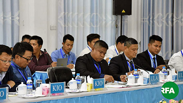Representatives from the Northern Alliance hold talks with Myanmar peace negotiators in Muse, Myanmar's northern Shan state, April 30, 2019.