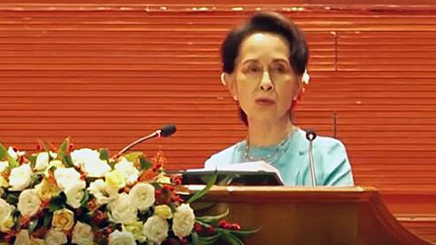 Myanmar's leader Aung San Suu Kyi delivers a speech at the opening of the fourth session of the 21st-Century Panglong Conference in Naypyidaw, Aug. 19, 2020.