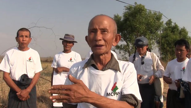 Farmers in Ngape village in Myanmar's Magway division protest Chinese pipeline company's plans for their land, April 2, 2019.
