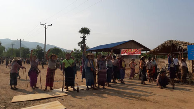 Villagers protest against the Alpha Cement Plant near Aungthabyae village in central Myanmar's Mandalay region, May 15, 2019.