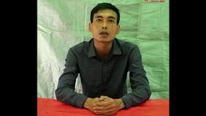 Major Thet Naing Oo, deputy commander of Light Infantry Battalion No. 7 under the Myanmar Army's 77th Light Infantry Division, appears in a video released by the Arakan Army on Sept. 19, 2020.