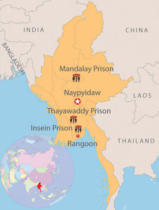 Map showing prisons where many of Burma's political prisoners are locked up.