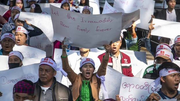 Myanmar demonstrators at a rally demanding the government permanently stop construction of the Chinese-backed Myitsone dam in Myitkyina, capital of Kachin state, Feb. 7, 2019.