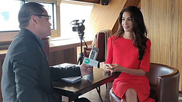 Human rights lawyer Amal Clooney speaks with RFA's Myanmar Service in New York, Sept. 28, 2018.
