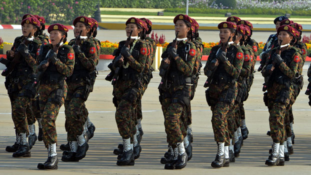 Myanmar soldiers march in a formation during a parade marking the country's 74th Armed Forces Day in Myanmar's capital Naypyidaw, March 27, 2019.