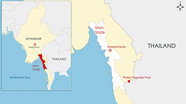 A map showing Mawlamyine, capital of southeastern Myanmar's Mon state, and the Three Pagodas Pass on the Myanmar-Thailand border in neighboring Kayin state.