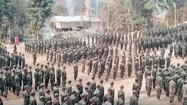 Arakan Army soldiers gather at a camp in western Myanmar's Rakhine state in an undated photo.