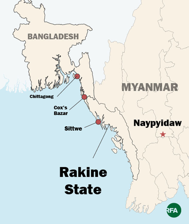 The map shows the location of Sittwe, capital of western Myanmar's Rakhine state.