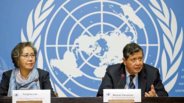Yanghee Lee (L), the UN's special rapporteur on the situation of human rights in Myanmar, and Marzuki Darusman (R), chairman of the Independent International Fact-finding Mission on Myanmar, speak to the media at a press conference at the European headquarters of the United Nations in Geneva, Switzerland, Sept. 17, 2019.