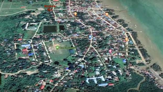 A satellite view of Myebon town in western Myanmar's Rakhine state, June 5, 2020.