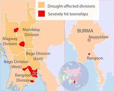 Drought-affected areas of Burma. Credit: RFA
