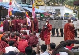 RANGOON, Burma: Buddhist monks protest, Sept. 26, 2007.