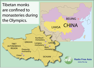Locations of monasteries reporting restrictions on movement and travel.