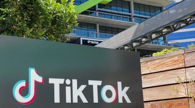 The logo of Chinese video app TikTok is shown on the side of the company's new office in Culver City, California, Aug. 11, 2020.