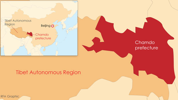 A map showing the location of Chamdo prefecture in the Tibet Autonomous Region.