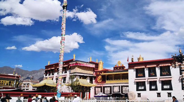 A public square for worship outside Lhasa's Jokhang temple is shown fenced off in a Sept. 2020 photo.
