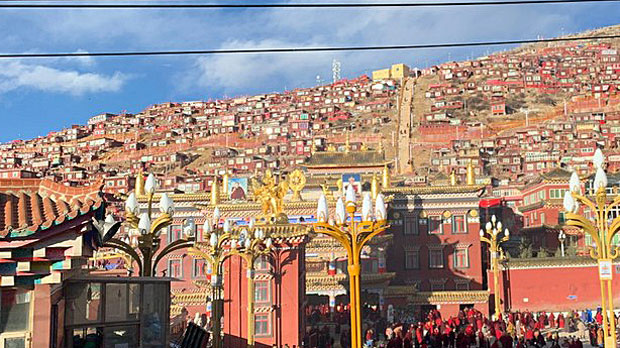 The Larung Gar Buddhist Academy in Sichuan's Serthar county is shown in a recent photo.