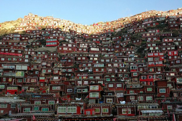 Monks' and nuns' houses are shown at Larung Gar in Sichuan in an undated photo.