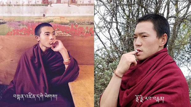 Tibetan monks Tendzin Gelek (L) and Dorje Rabten (R) are shown in undated photos.