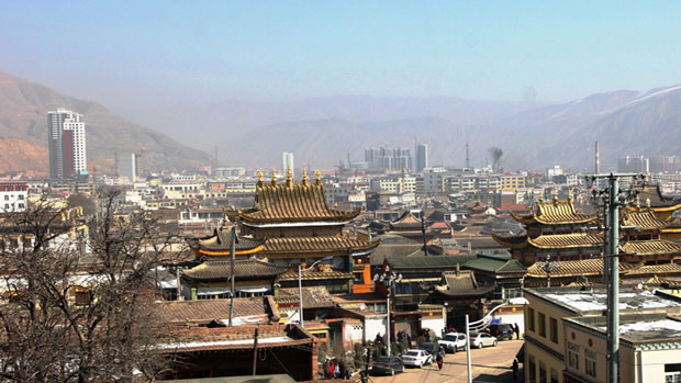 Rebgong town in China's Qinghai province is shown in a file photo.