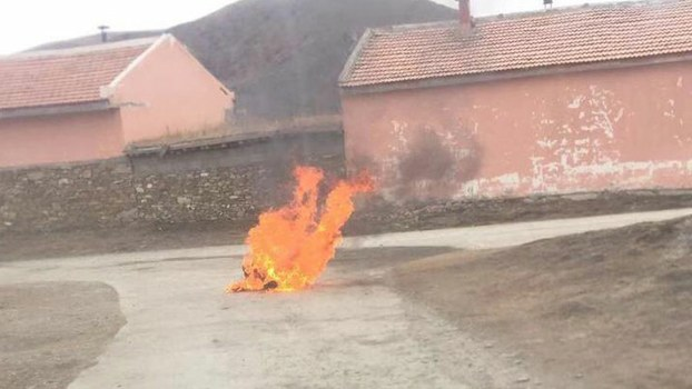 A Tibetan man named Yonten sets himself on fire in a village in Meruma township, Ngaba (in Chinese, Aba) county, a Tibetan region in the western Chinese province of Sichuan, November 26, 2019.