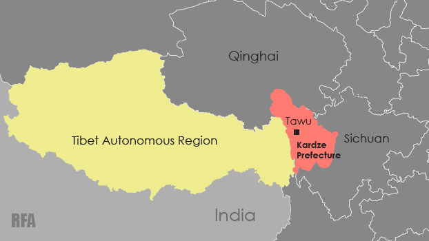 Map showing the location of Tawu county in Sichuan's Kardze prefecture.