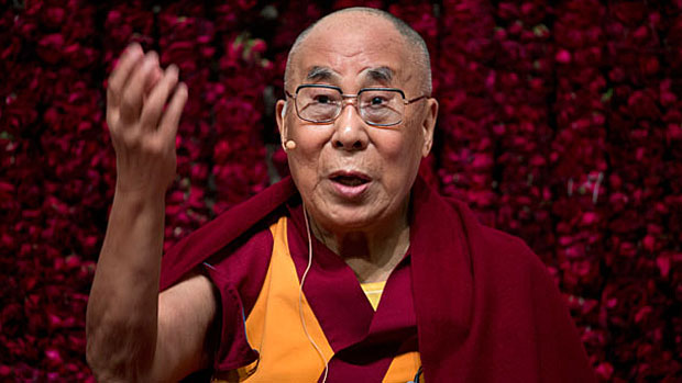 Tibetan spiritual leader the Dalai Lama speaks at a public event in New Delhi, India, Feb. 2, 2017.