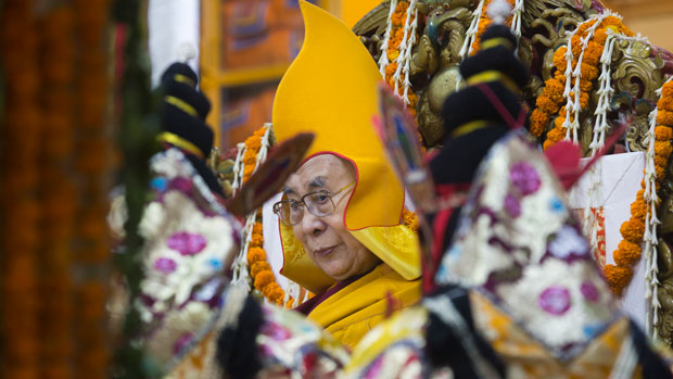 Tibet's spiritual leader the Dalai Lama sits on his throne in the Tsuglakhang temple in Dharamsala, India, May 17, 2019.