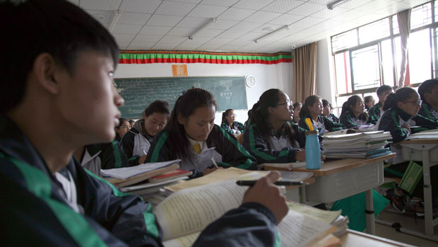Tibetan students attend a language class at a school in Lhasa in a file photo.