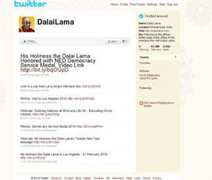 A screen grab shows the Dalai Lama Twitter page, Feb. 23, 2010.