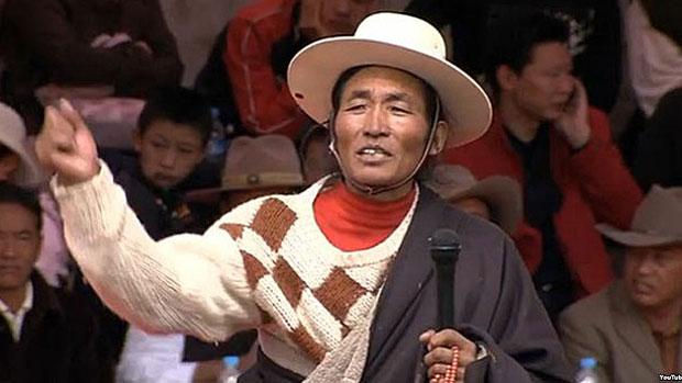 Runggye Adrak calls for the return of the Dalai Lama to Tibet, Aug. 1, 2007.