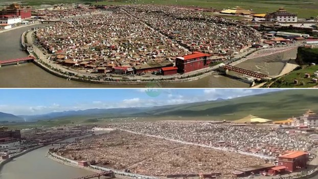 A photo of the Yarchen Gar Buddhist center received by RFA on Aug. 27, 2019 (bottom), compared to an undated photo of the complex in Sichuan province before demolition (top).
